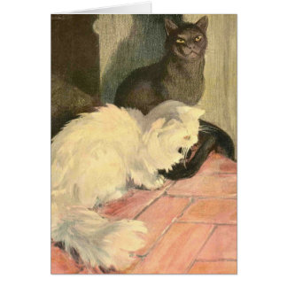 The Book of the Cat: Snowball and Ebony Greeting Card