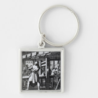 The Book Printer Silver-Colored Square Key Ring