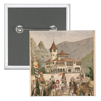 The Bosnian Pavilion at the Universal Exhibition 15 Cm Square Badge