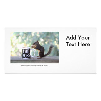 """""""The Boss"""" Squirrel Personalised Photo Card"""