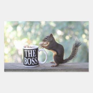 The Boss Squirrel Rectangular Stickers