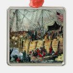 The Boston Tea Party, 16th December 1773 Silver-Colored Square Decoration