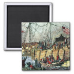 The Boston Tea Party, 16th December 1773 Square Magnet