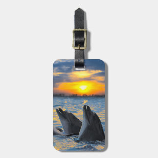 The bottle-nosed dolphins in sunset light luggage tag