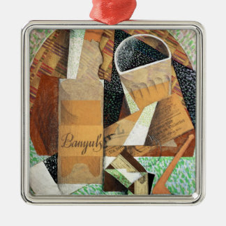 The Bottle of Banyuls, 1914 (gouache & collage) Silver-Colored Square Decoration