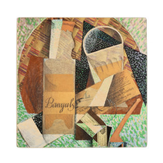 The Bottle of Banyuls, 1914 (gouache & collage) Wood Coaster