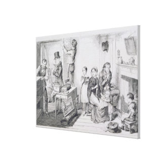 The Bottle, Plate III, An execution sweeps off the Canvas Print