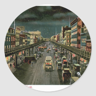 The Bowery, by Night, New York. Vintage. Round Sticker