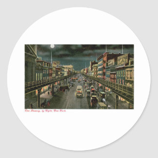 The Bowery, by Night, New York. Vintage. Round Sticker