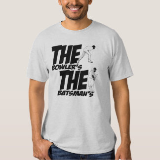 The bowler's Holding the batsman's Willey Tshirt