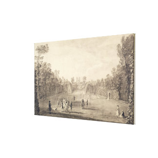 The Bowling Green at Claremont, 1738 (engraving) Stretched Canvas Print