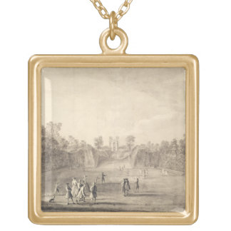 The Bowling Green at Claremont, 1738 (engraving) Gold Plated Necklace