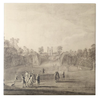 The Bowling Green at Claremont, 1738 (engraving) Large Square Tile