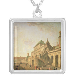The Boyar's Ground in the Moscow Kremlin, 1801 Square Pendant Necklace