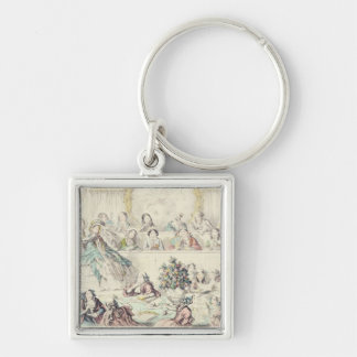The Breach of Promise - cartoon hand coloured etch Key Ring