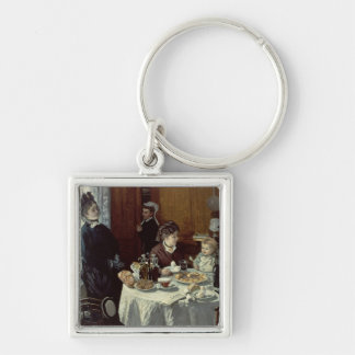 The Breakfast, 1868 (oil on canvas) Silver-Colored Square Key Ring