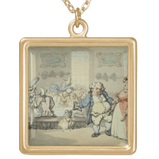 The Breakfast, from 'Scenes at Bath' (w/c & ink an Gold Plated Necklace