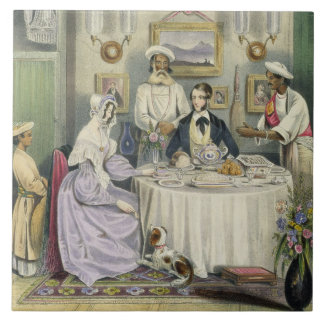 The Breakfast, plate 3 from 'Anglo Indians', engra Large Square Tile