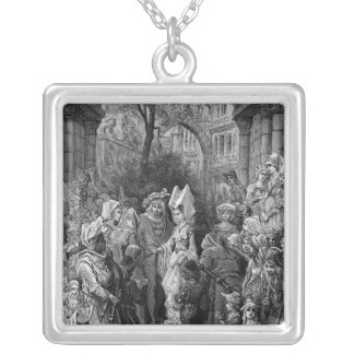 The Bride and Groom entering the hall Silver Plated Necklace