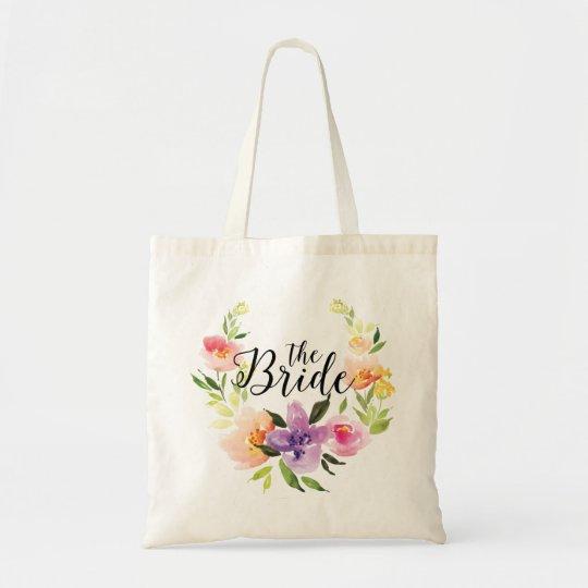 The Bride Black Text & Colourful Watercolor Wreath Tote Bag