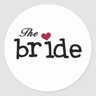The Bride Black with Red Heart Round Sticker