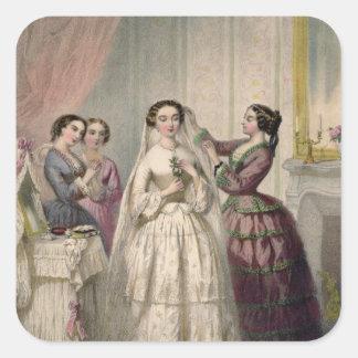 The Bride, engraved by J. Battannier, 1852-53 Square Sticker