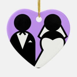 The Bride & Groom Ceramic Heart Decoration