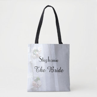 The Bride Personalized Faux Vintage Lace Tote Bag