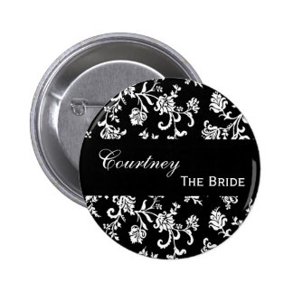 THE BRIDE Pin Button Black and White Damask