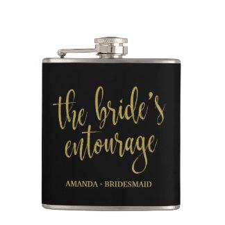 The Bride's Entourage Elegant Calligraphy Flask