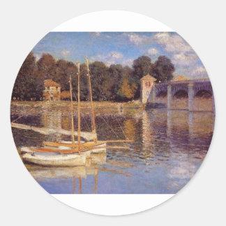 The Bridge at Argenteuil Claude Monet Classic Round Sticker