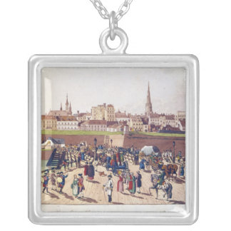 The Bridge at Leopoldstadt, Vienna, 1780 Silver Plated Necklace