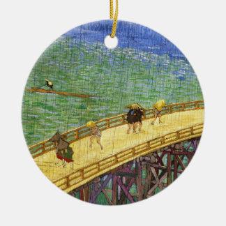 The Bridge in the Rain Vincent van Gogh fine art Double-Sided Ceramic Round Christmas Ornament