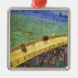 The Bridge in the Rain Vincent van Gogh fine art Silver-Colored Square Decoration