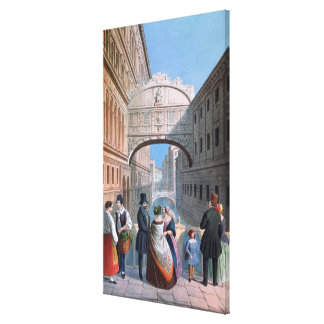 The Bridge of Sighs, Venice, engraved by Brizeghel Canvas Print