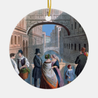 The Bridge of Sighs, Venice, engraved by Brizeghel Christmas Ornament