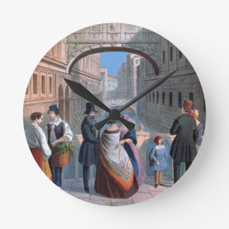 The Bridge of Sighs, Venice, engraved by Brizeghel Round Clock