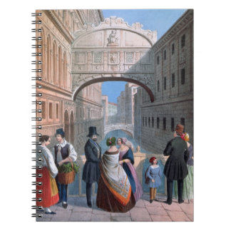 The Bridge of Sighs, Venice, engraved by Brizeghel Spiral Notebook