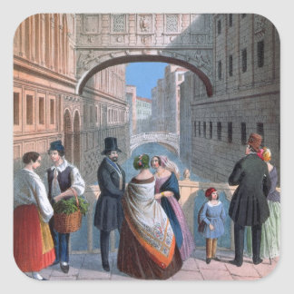 The Bridge of Sighs, Venice, engraved by Brizeghel Square Sticker