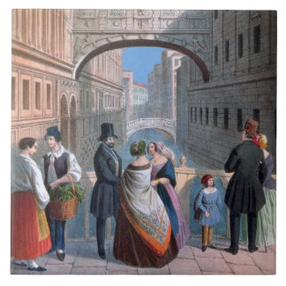 The Bridge of Sighs, Venice, engraved by Brizeghel Tile