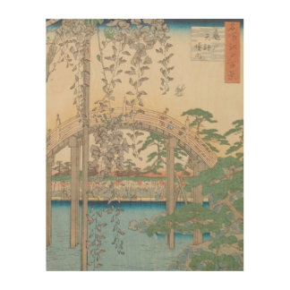 The Bridge with Wisteria or Kameido Tenjin Wood Wall Art