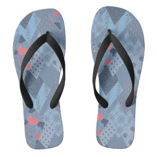 The bright blue patchwork flip flops