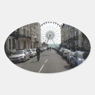 The Brighton Wheel in Brighton, UK Oval Sticker