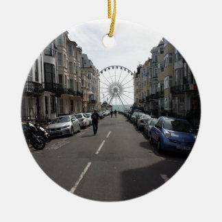 The Brighton Wheel in Brighton, UK Round Ceramic Decoration