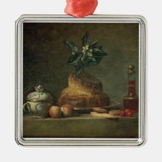 The Brioche or The Dessert, 1763 (oil on canvas) Silver-Colored Square Decoration