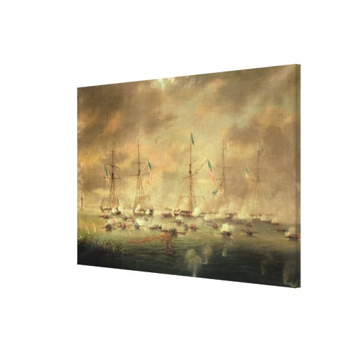 The British and American Fleets Engaged on Lake Bo Stretched Canvas Prints