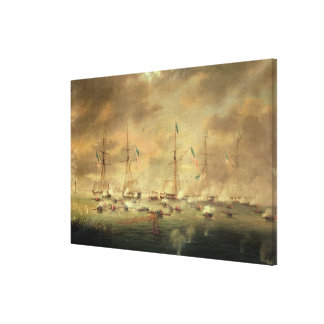 The British and American Fleets Engaged on Lake Bo Canvas Print