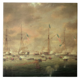 The British and American Fleets Engaged on Lake Bo Large Square Tile