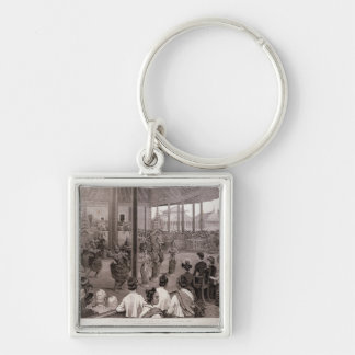 The British in Burmah Silver-Colored Square Key Ring