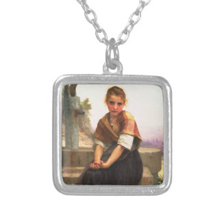 The Broken Pitcher by William-Adolphe Bouguereau Silver Plated Necklace